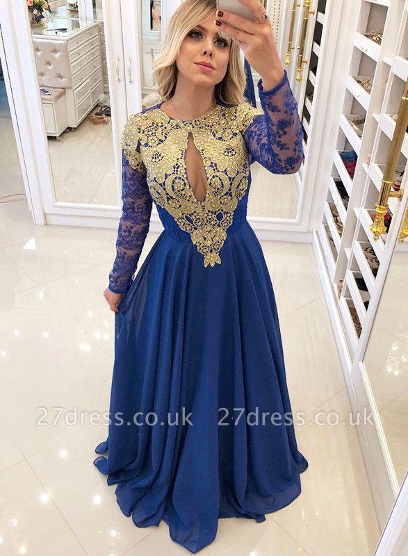 Sexy Royal Blue 2019 Evening Dress UK | Long Sleeve Lace Chiffon Prom Dress UK