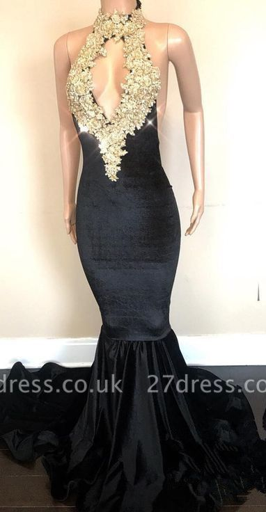 Black High-Neck Prom Dress UK | Lace Appliques Party Gowns On Sale