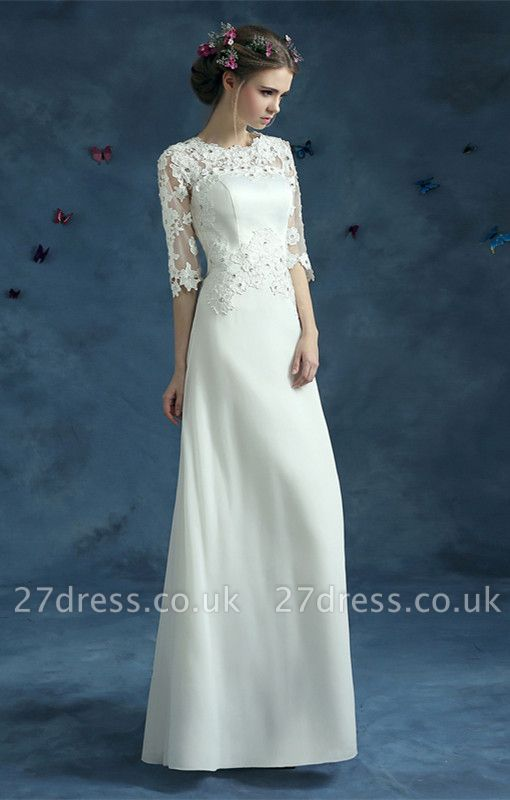 Elegant Lace Half Sleeve Wedding Dress Illusion Zipper Floor-length