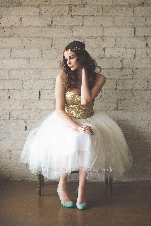Mini Sequined Wedding Reception Dress Sleeveless Tulle