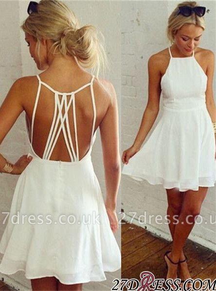 Backless Mini Modest White Sleeveless Homecoming Dress UK