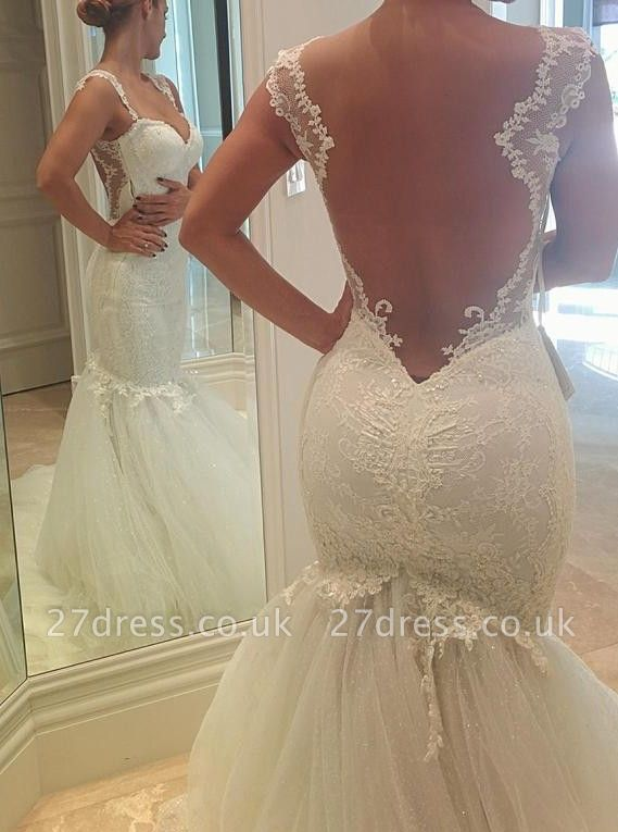 Sexy Mermaid Tulle Open Back Wedding Dresses UK Spagheeti Strapless Lace Bridal Gowns