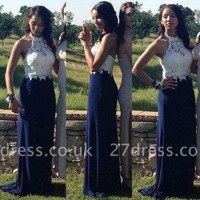Sexy Lace-Top Halter-Neck Navy-Blue Sheath Prom Dress UKes UK