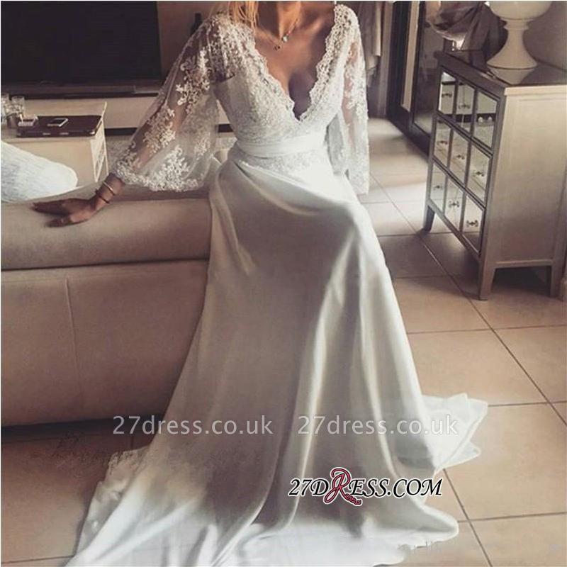 A-Line Elegant Long Lace V-Neck Prom Dress UKes UK
