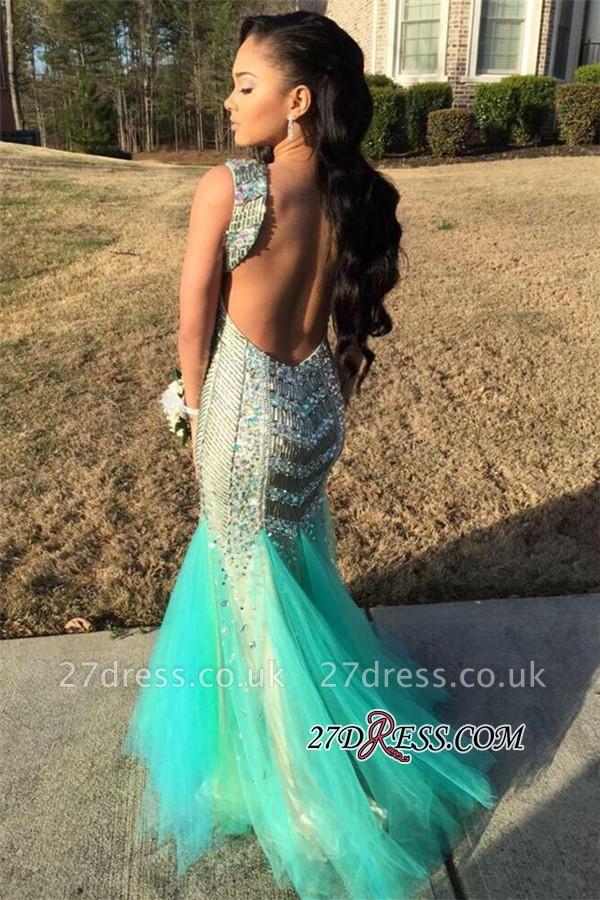 Sequins Beaded Luxury Sleeveless Tulle Jewel Mermaid Sparkly Backless Prom Dress UK
