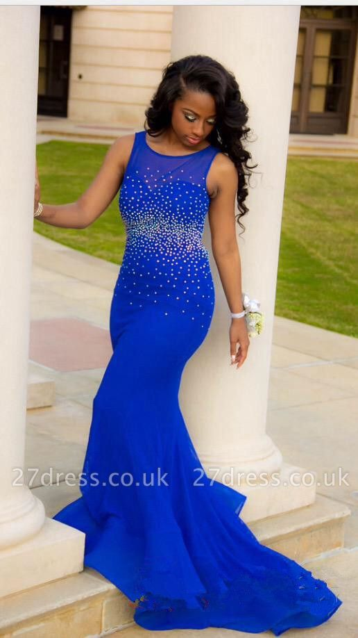 Elegant Royal Blue Mermaid Beadings Prom Dress UK Open Back CJ0477 BK0