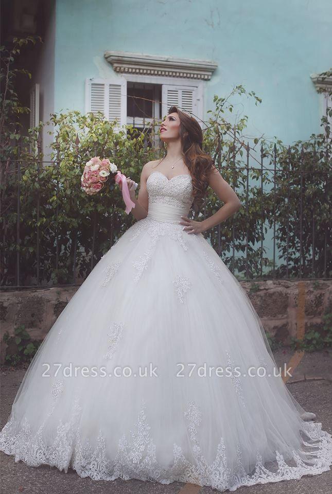 Elegant Tulle Lace Ball Gown Wedding Dress Sweetheart Sleeveless