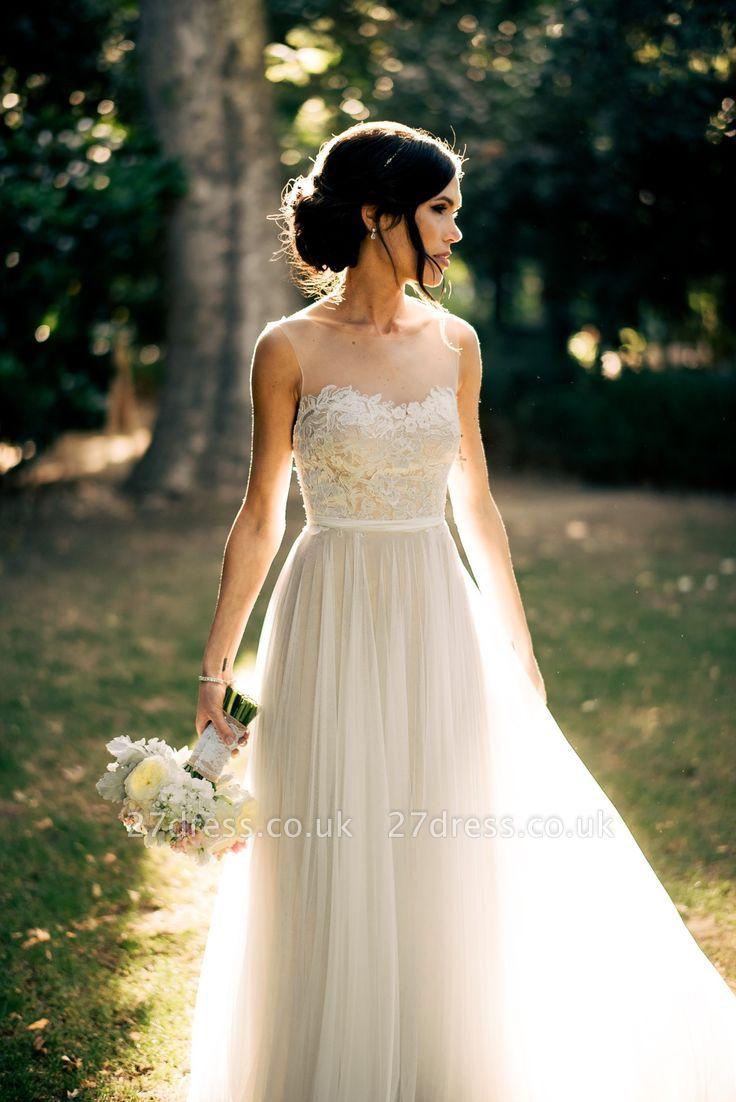 Elegant Summer Beach Sleeveless Wedding Dresses UK New Arrivals Tulle Lace Appliques