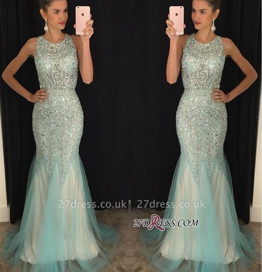 Mermaid Luxury Tulle Sleeveless Scoop Crystal Prom Dress UKes UK