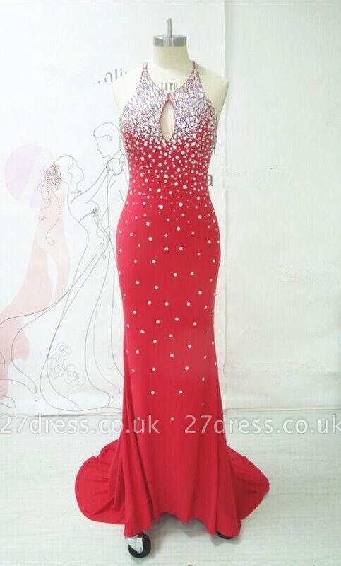 Elegant Evening Long Open Back Prom Dresses Rhinestone New Dress