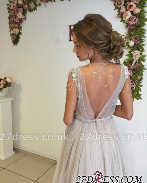 Cap-Sleeve Flowers Beads Modern Sweep-Train A-line Tulle Evening Dress UK BA3732