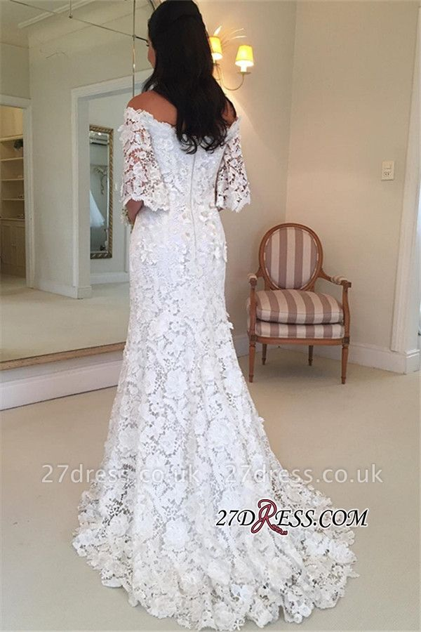 Simple Off-the-Shouler Lace Half-Sleeves Wedding Dress BA8200