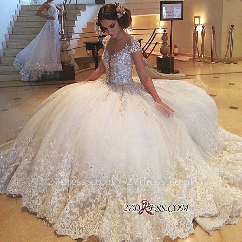 Cap-Sleeves Wedding Gowns | Princess Lace Wedding Dress On Sale