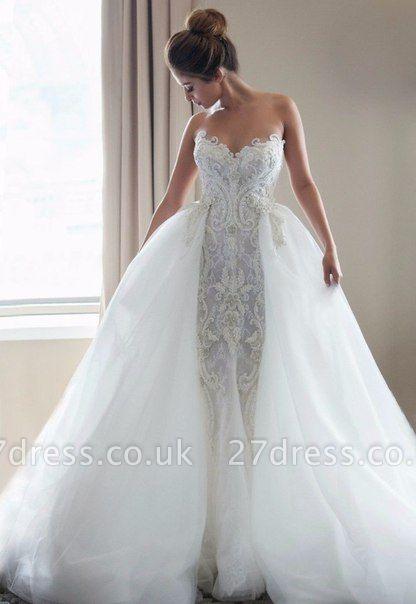 Gorgeous Lace Appliques Tulle Wedding Dress Removable Train