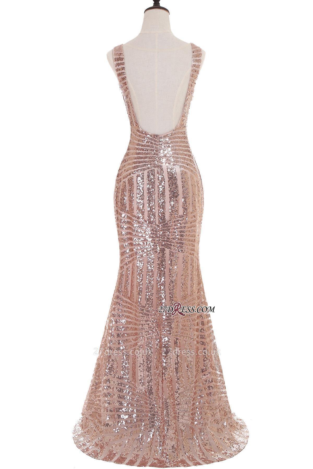 Sleeveless Newest Long Jewel Sequin Mermaid Prom Dress UK