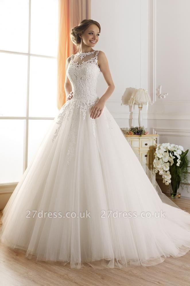 Elegant Illusion Sleeveless Tulle Wedding Dress With Lace Appliques