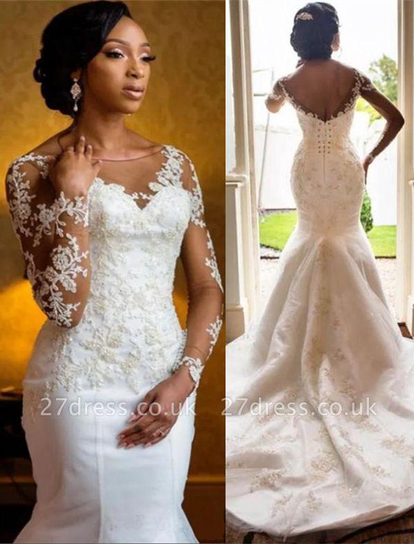 Sexy Mermaid Lace Wedding Dresses UK Cheap Open Back Long Sleeve Wedding Dresses UK