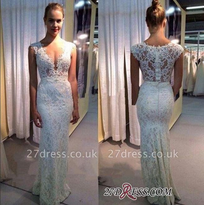 Sleeveless Lace Long Modest Zipper V-neck Wedding Dress