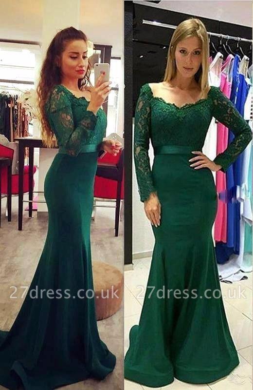 Sexy Long Sleeve Green Mermaid Lace Prom Dress UK On Sale