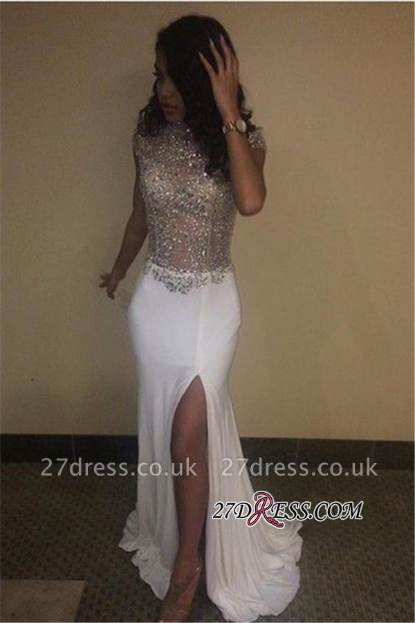 Beading Prom Neck Dress UKes UK Split Sequins High Front Cap Sleeves BA5088