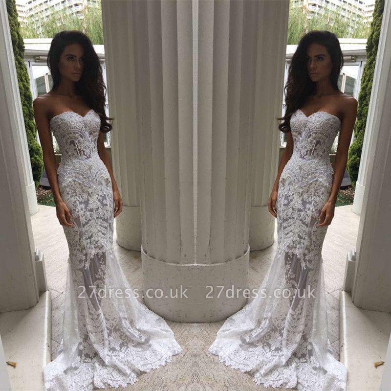 Modern Sweetheart Lace Appliques Prom Dress UK Mermaid Sheer Skirt Floor Length BA3639 BK0
