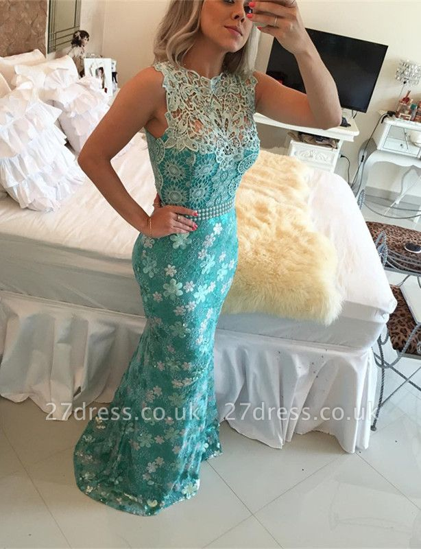 Sexy Sleeveless Lace Pearls Prom Dress UKes UK Mermaid Long Party gown BT0