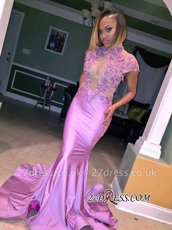 Cap-Sleeve High-Neck Mermaid Lilac Illusion Flowers Appliques Prom Dress UK