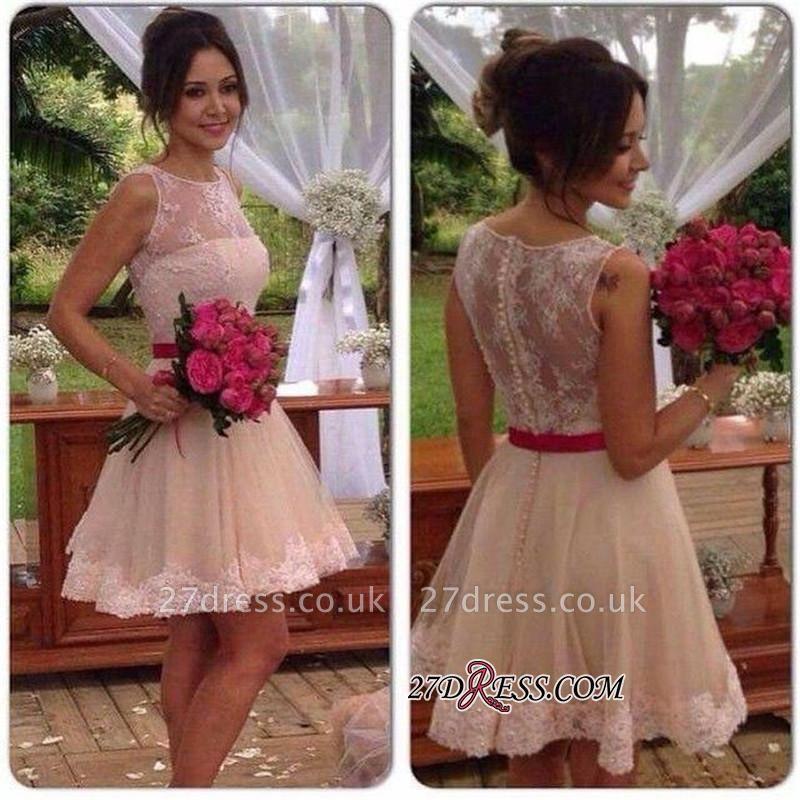 A-line Sleeveless Jewel Mini Sexy Lace Homecoming Dress UK