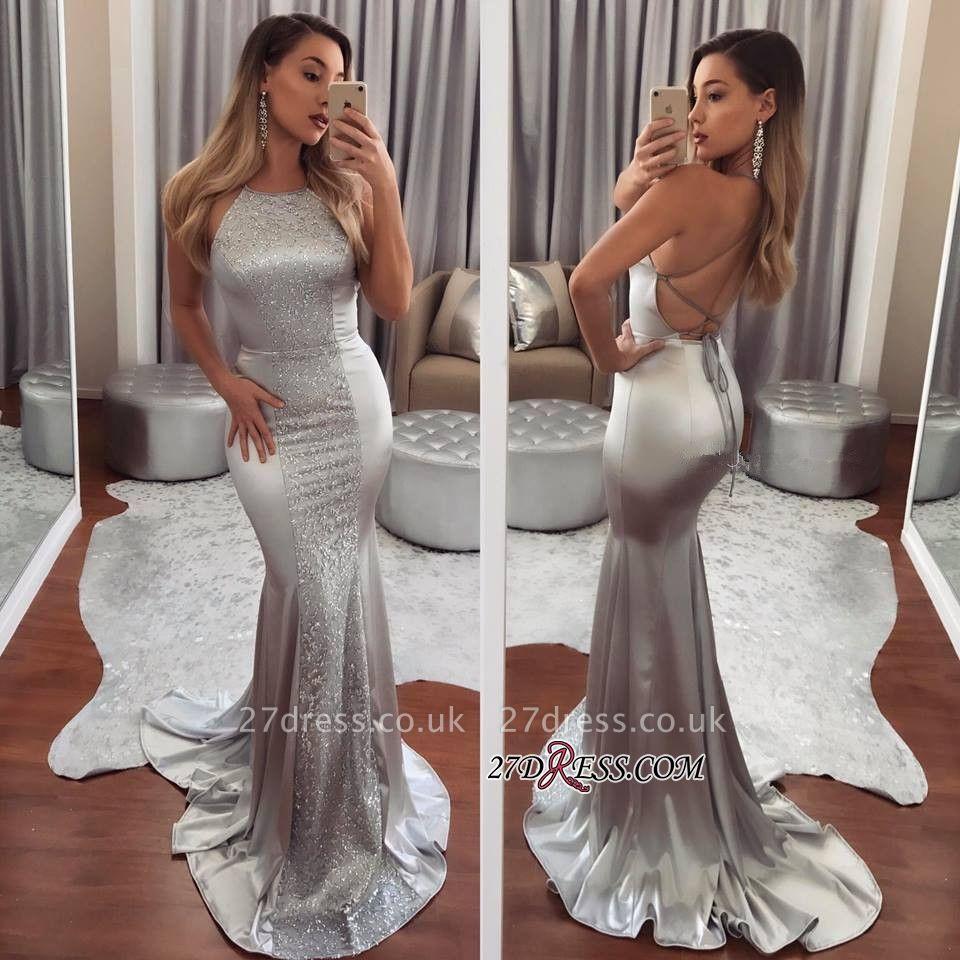 Halter Beadings Mermaid Sleeveless Luxury Evening Dress UK BA6843