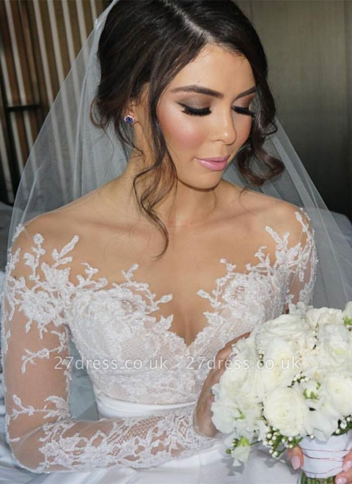 Delicate Lace Appliques Princess Wedding Dress Long Sleeve