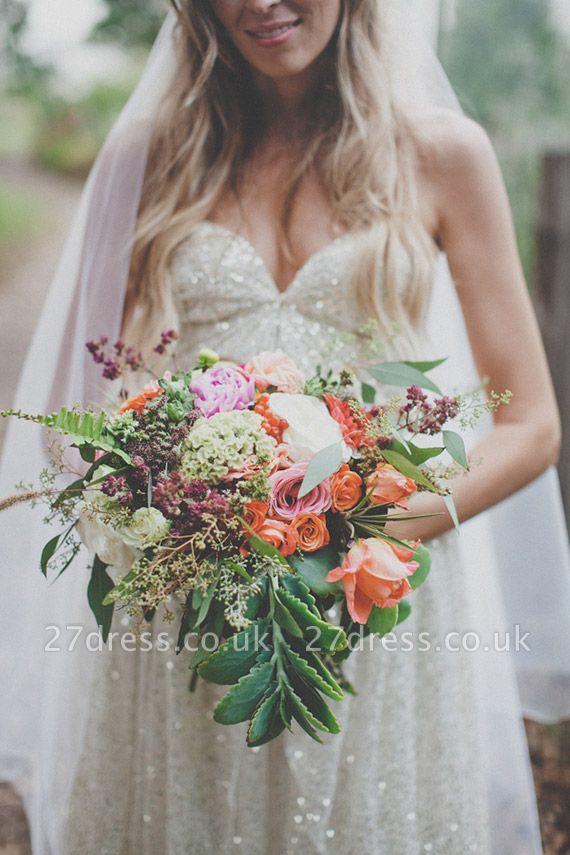 Elegant Spaghetti Strap Sleeveless Wedding Dress Floor-length Sequins