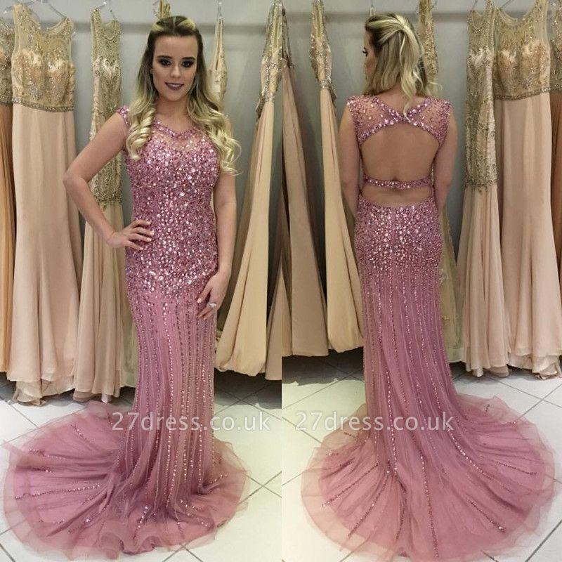 Gorgeous Crystal Rose Pink Sleeveless Prom Dress UK Long On Sale