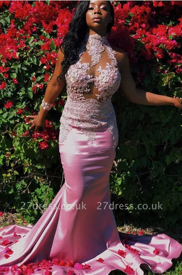 Pink High-Neck Prom Dress UK | Mermaid Lace Evening Gowns
