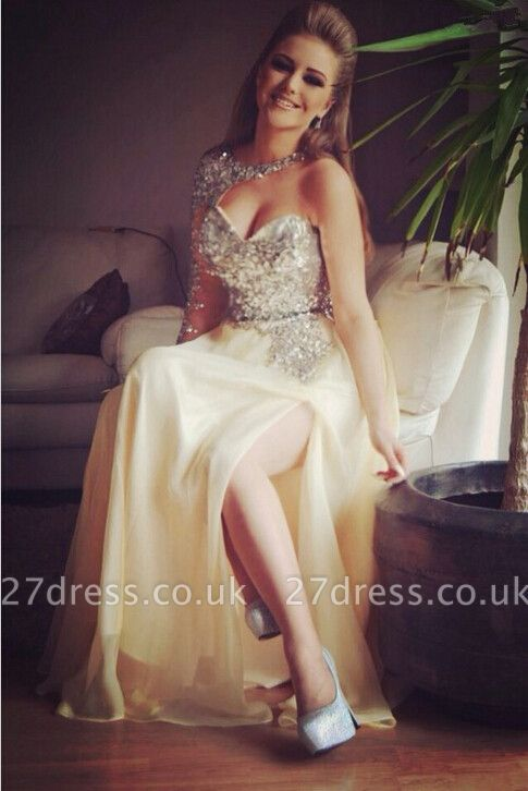 Newest Crystals Split Prom Dress UK One Sleeve