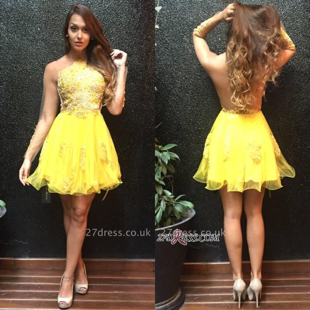 Long Ruffles Mini Appliques Sleeves Yellow Sweet Homecoming Dress UK