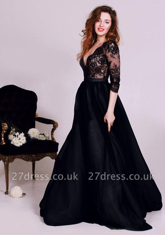 Elegant Black Lace Appliques V-neck Evening Dress UK 3/4-Length Sleeve A-line