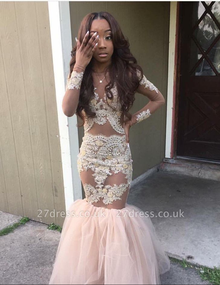 Gorgeous Long Sleeve Mermaid Evening Dress UK Appliques Lace Tulle BK0