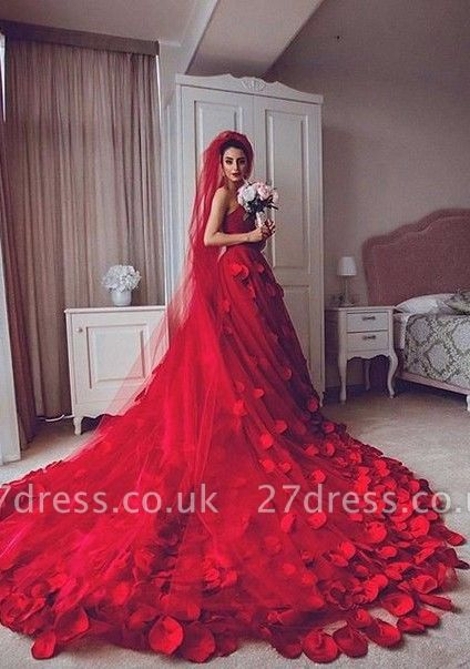 Newest Red Tulle Princess Wedding Dress Flowers Court Train