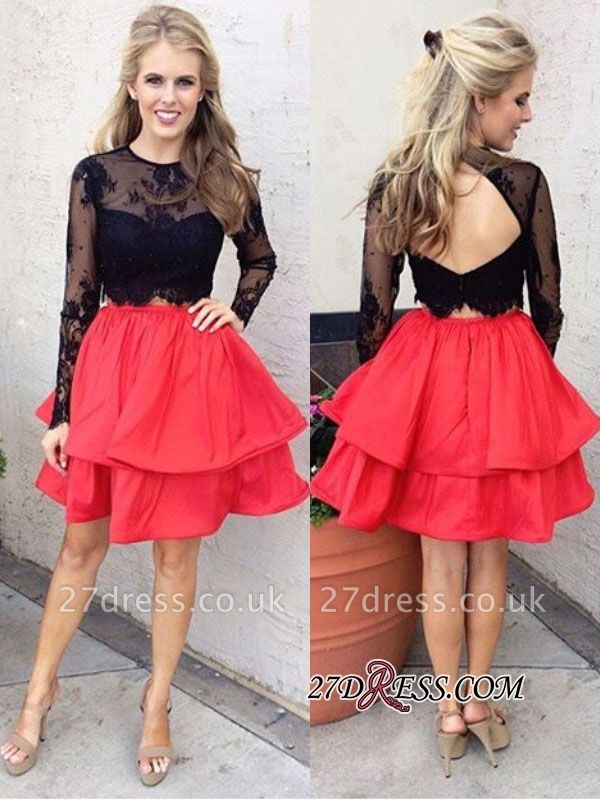 Chic Lace Black Red Two-Piece Long-Sleeves A-line Homecoming Dress UKes UK