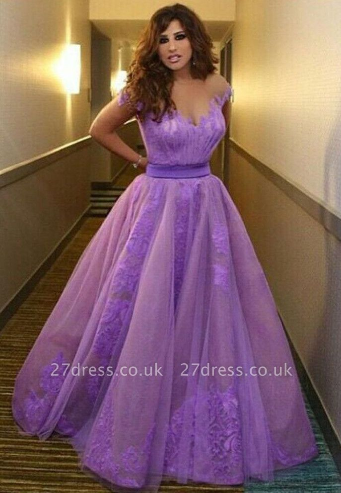 Delicate Off-the-shoulder Tulle Princess Prom Dress UK With Appliques