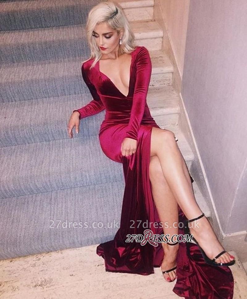 Long-Sleeves Deep-V-Neck Velvet Elegant Side-Slit Prom Dress UK qq0293