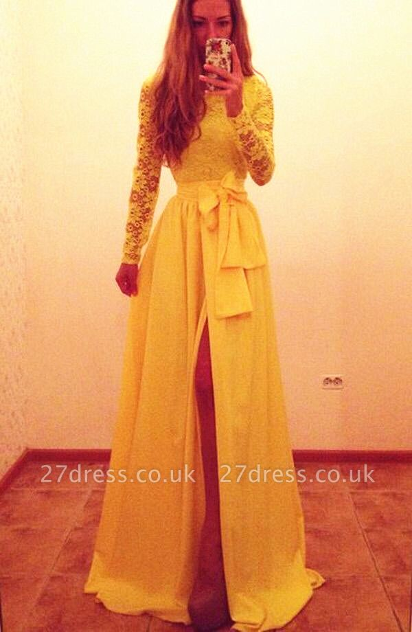 Elegant Long Sleeve Lace Chiffon Yellow Evening Dress UK Bowknot Front Split