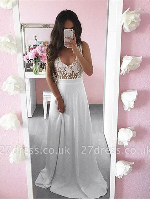 Pretty Summer White Lace Long Sleeveless Prom Dress UK