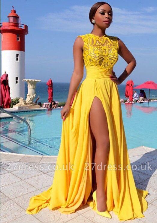 Elegant Illusion Sleeveless Chiffon Prom Dress UK With Front Split BK0