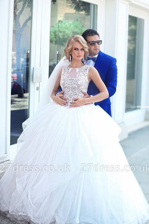 Elegant Tulle Ball Gown Wedding Dress Lace Appliques Lace-up