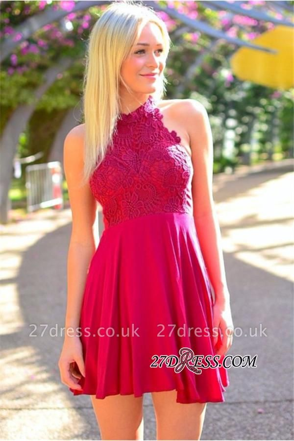 A-Line Simple Lace Halter Mini Sexy Homecoming Dress UK