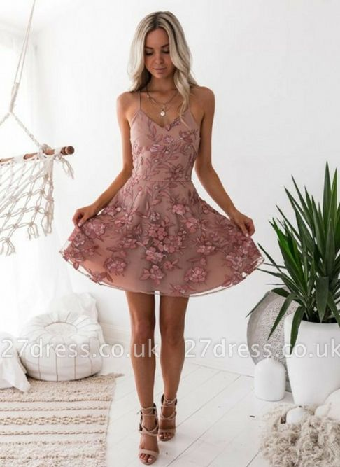 A-Line Pink Floral Homecoming Dress UKes UK | Spaghetti Straps Lace Appliques Cocktail Dress UKes UK