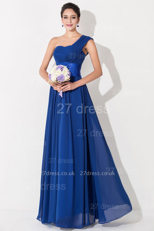 Newest One Shoulder Chiffon Evening Dress UK Royal Blue