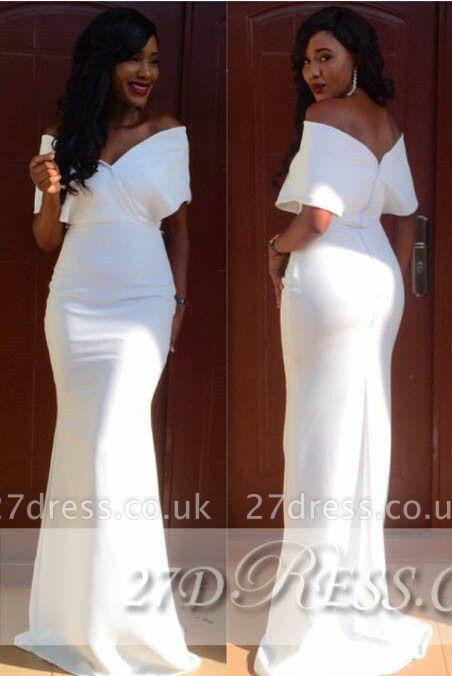 Modest White V-Neck Evening Dress UKes UK Off-the-Shoulder Sheath Simple Prom Gowns