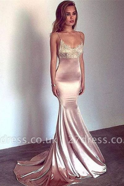 Sexy Spaghetti-Straps Mermaid Prom Dress UK Long With Lace